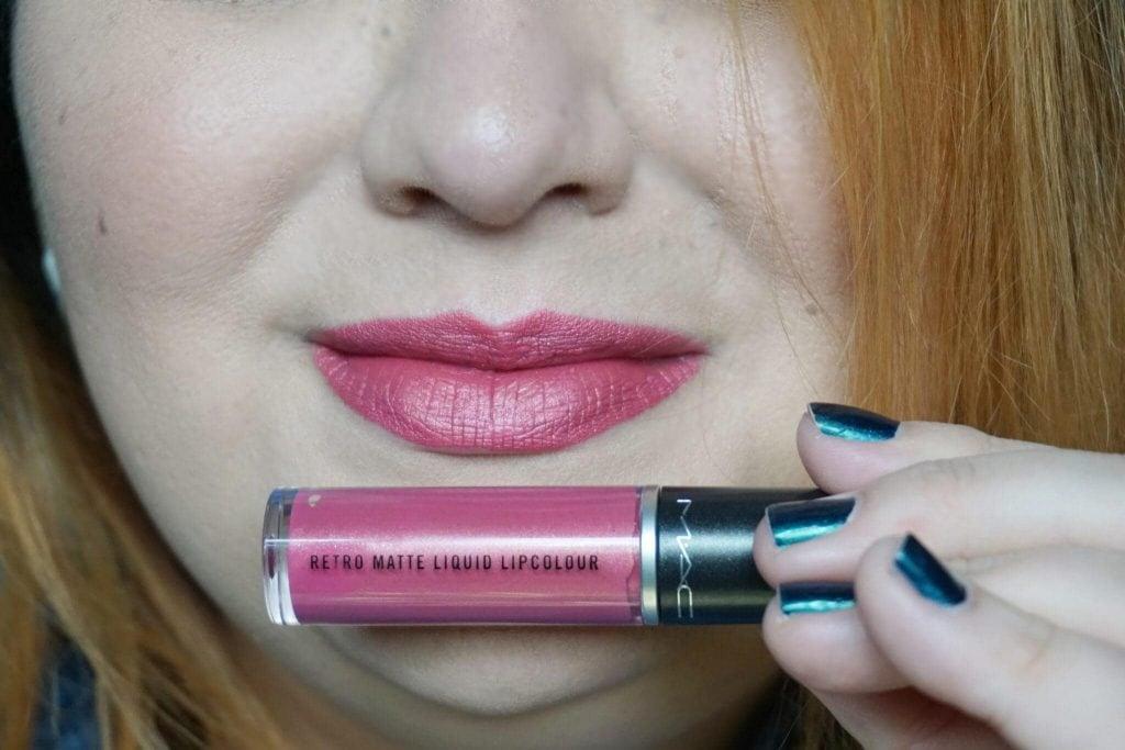 MAC Retro Matte Liquid Lipstick in Metallic Rose Swatch